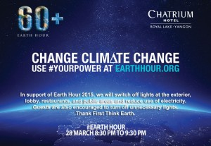 Chatrium Hotel Royal Lake Yangon Celebrates Earth Hour 2015