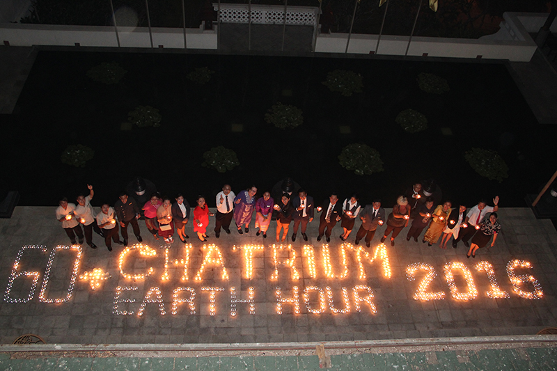 Staff of Chatrium Hotel Royal Lake Yangon Celebrating Earth Hour 2016