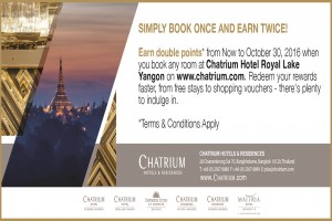 Book Once Earn Twice on Chatrium Point Plus+ At Chatrium Hotel Royal Lake Yangon