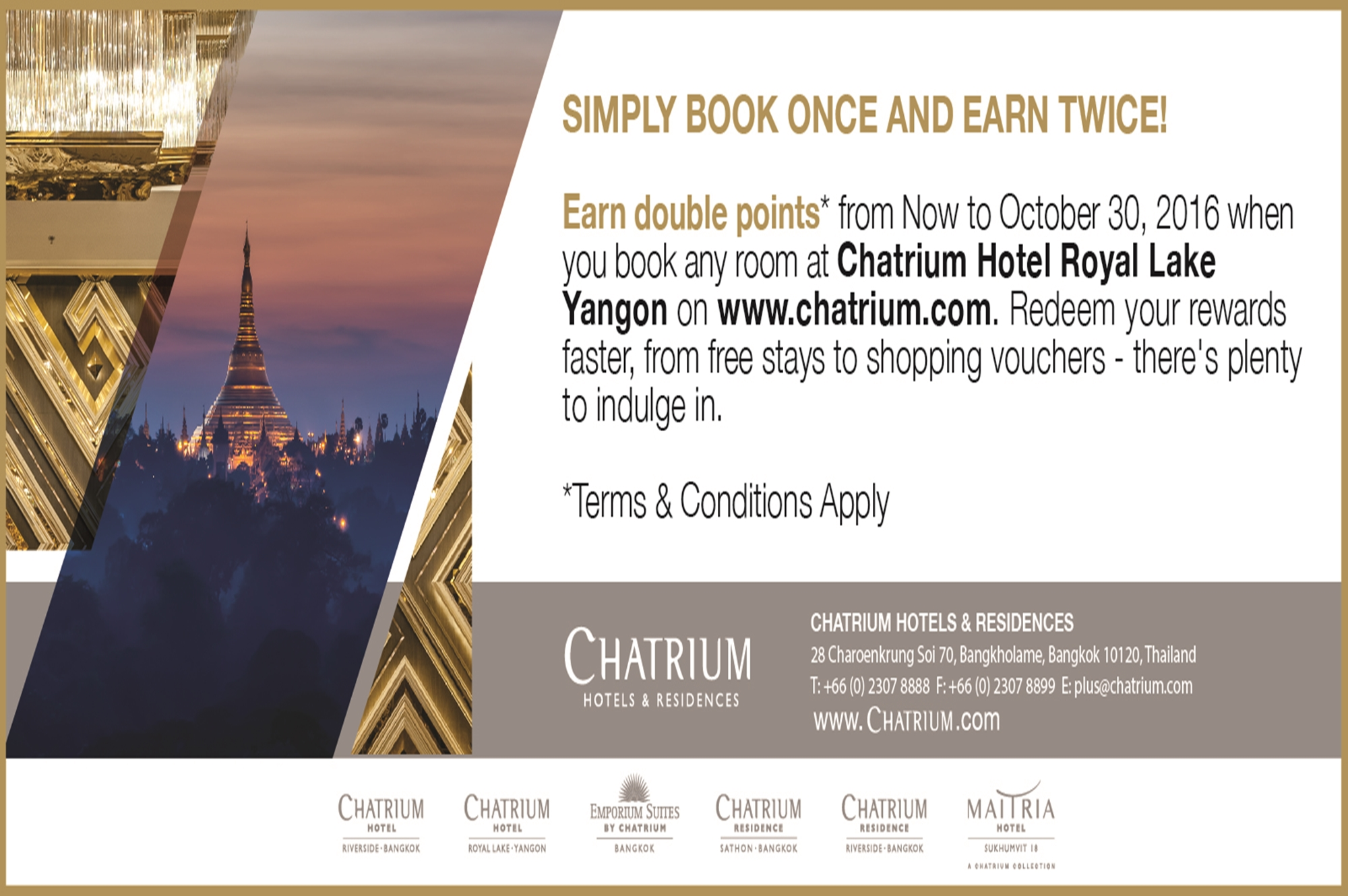 Book Once Earn Twice Offer at Chatrium Hotel Royal Lake Yangon