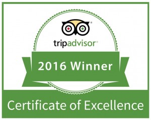 2016 CERTIFICATE OF EXCELLENCE FROM TRIPADVISOR